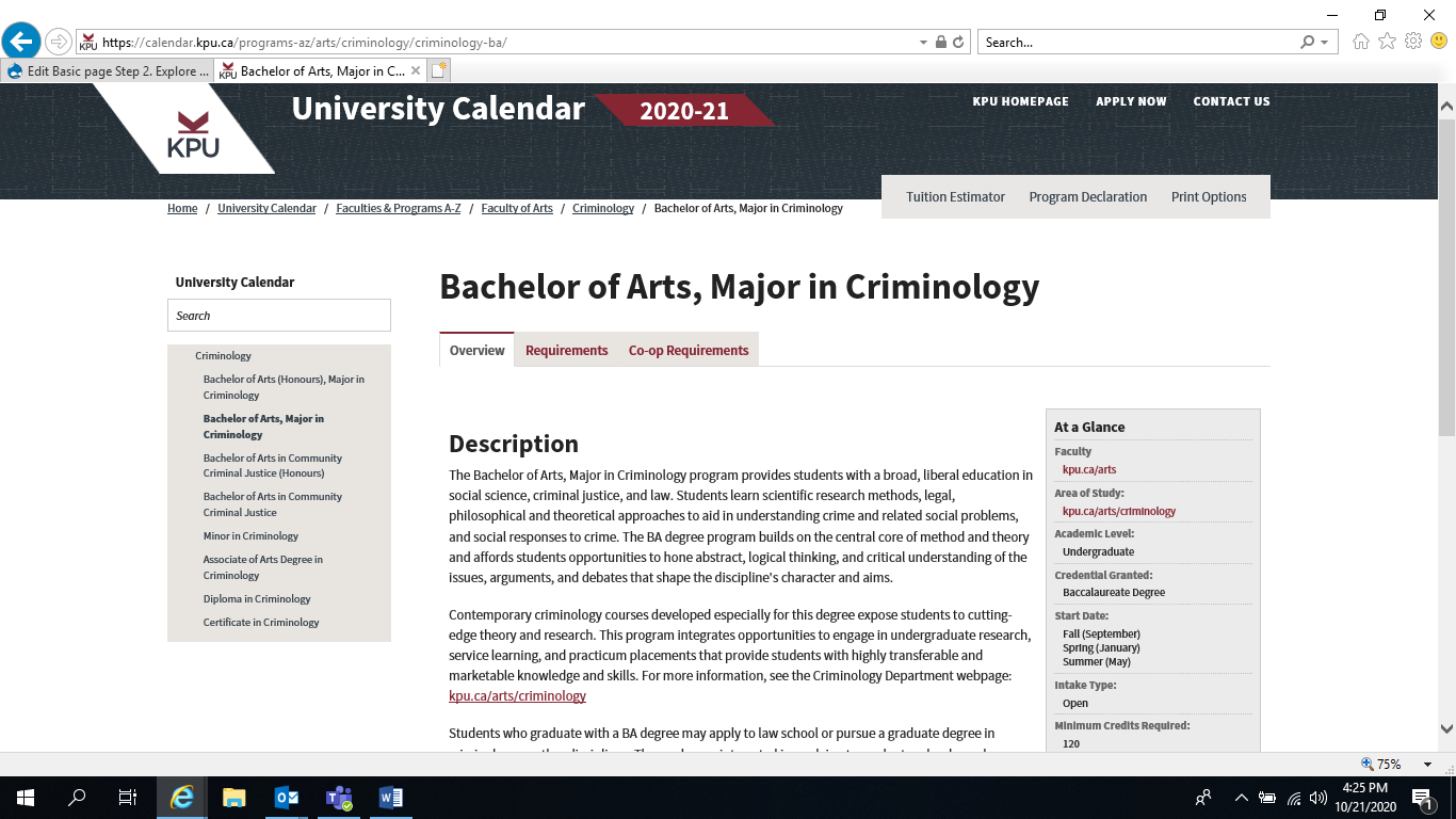 Majors and Requirement