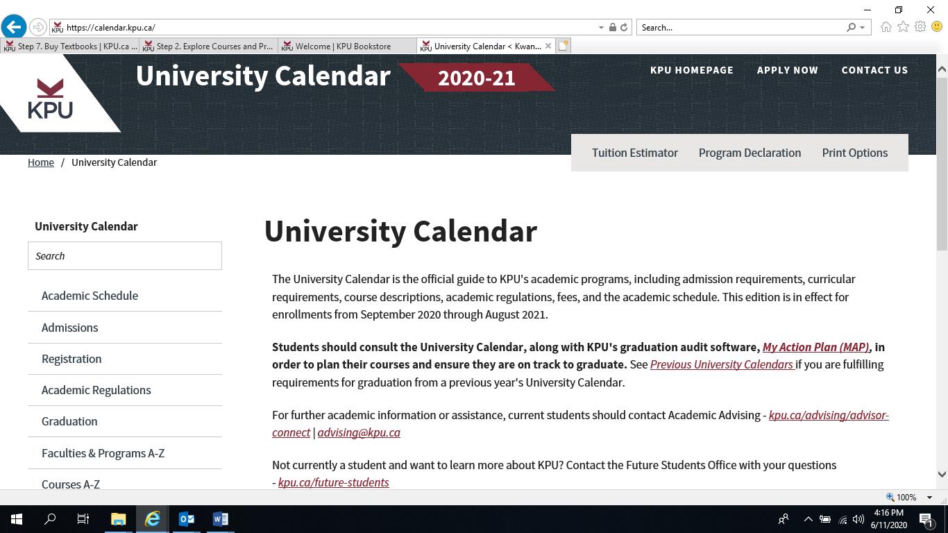 KPU calendar