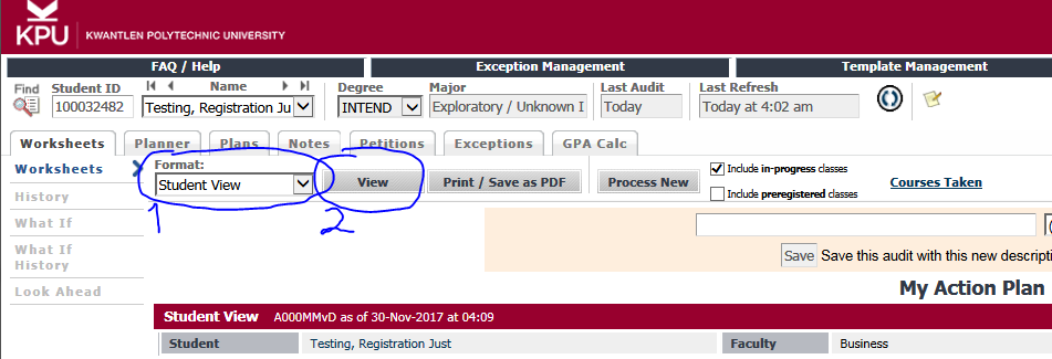 Student view button