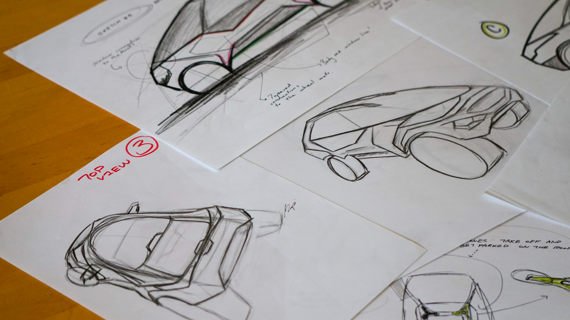 Initial creative process sketches of car design