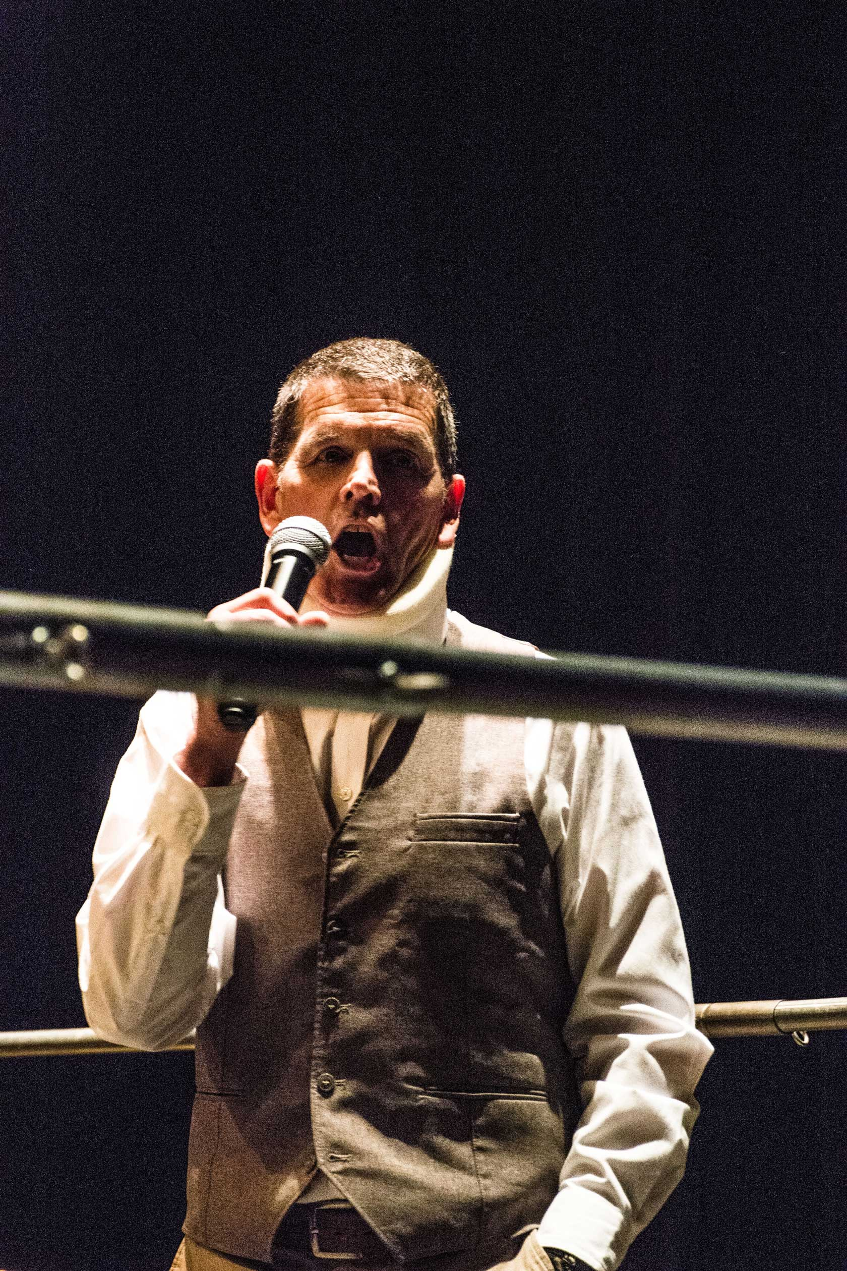 Paul Tyndall the Ring Announcer.