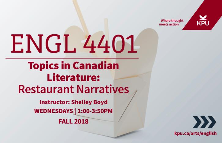 English 4401 - Topics in Canadian Literature - Restaurant Narratives