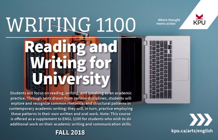 Writing 1100 - Reading and Writing for University