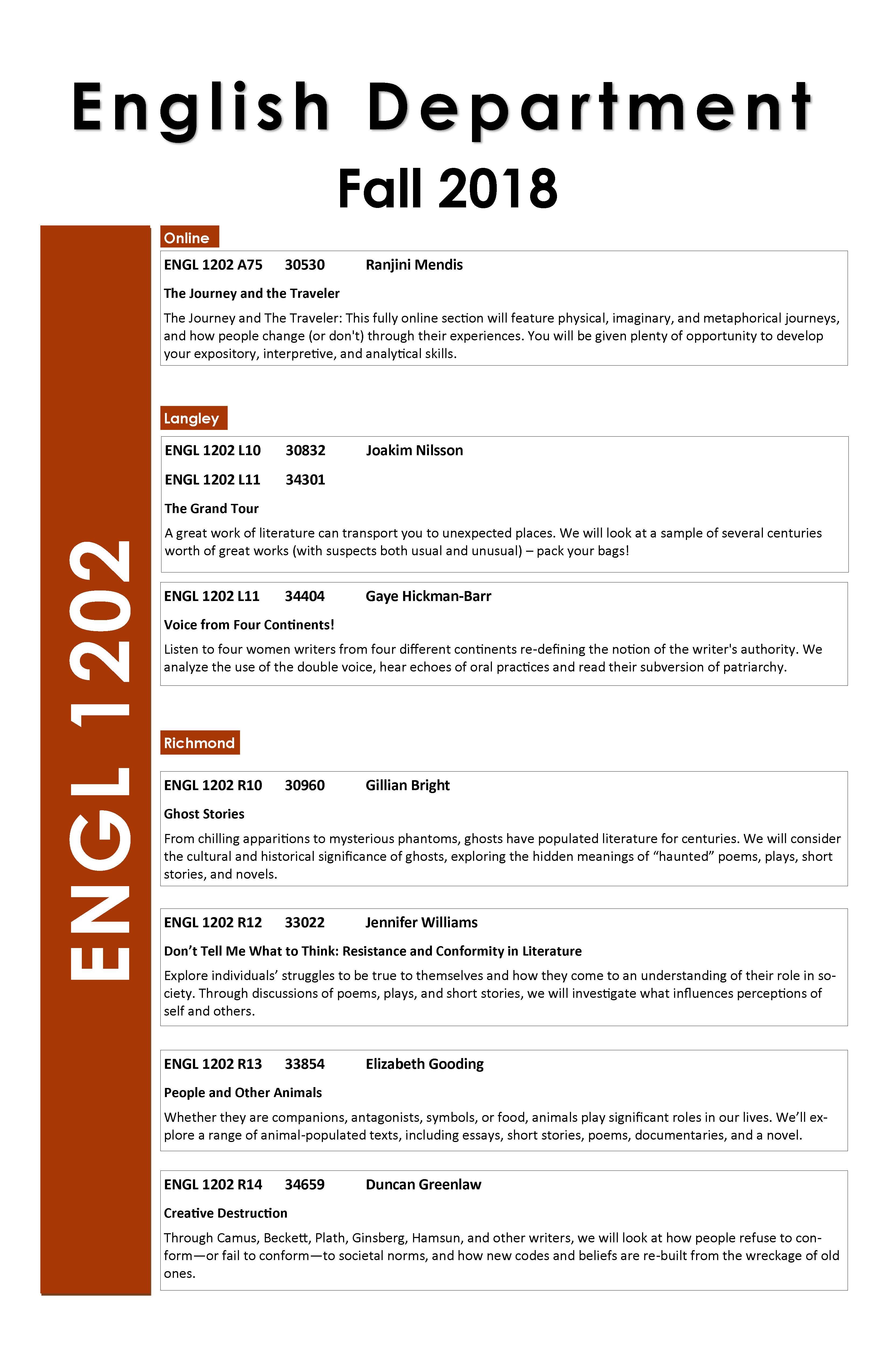 Fall 2018 1200-level Courses