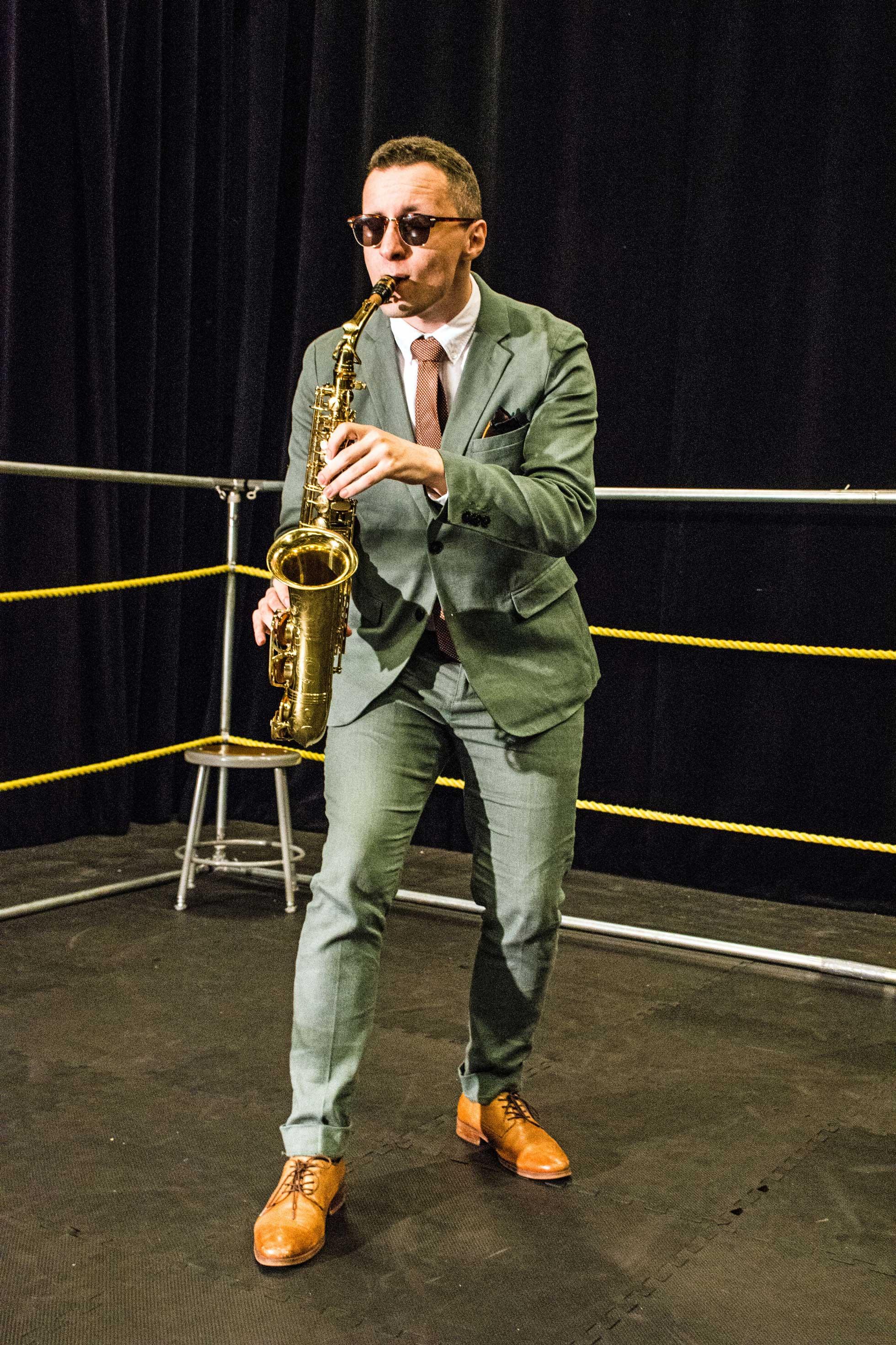 Recent KPU graduate Jay Reedy as The Jazz Man