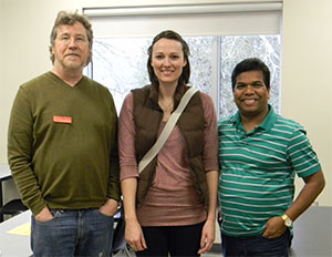Returning KPU Geography Alumnus Shauna Pezzot (BA '15), with Geography faculty members Bill Burgess (left) and Dola Pradhan (right)