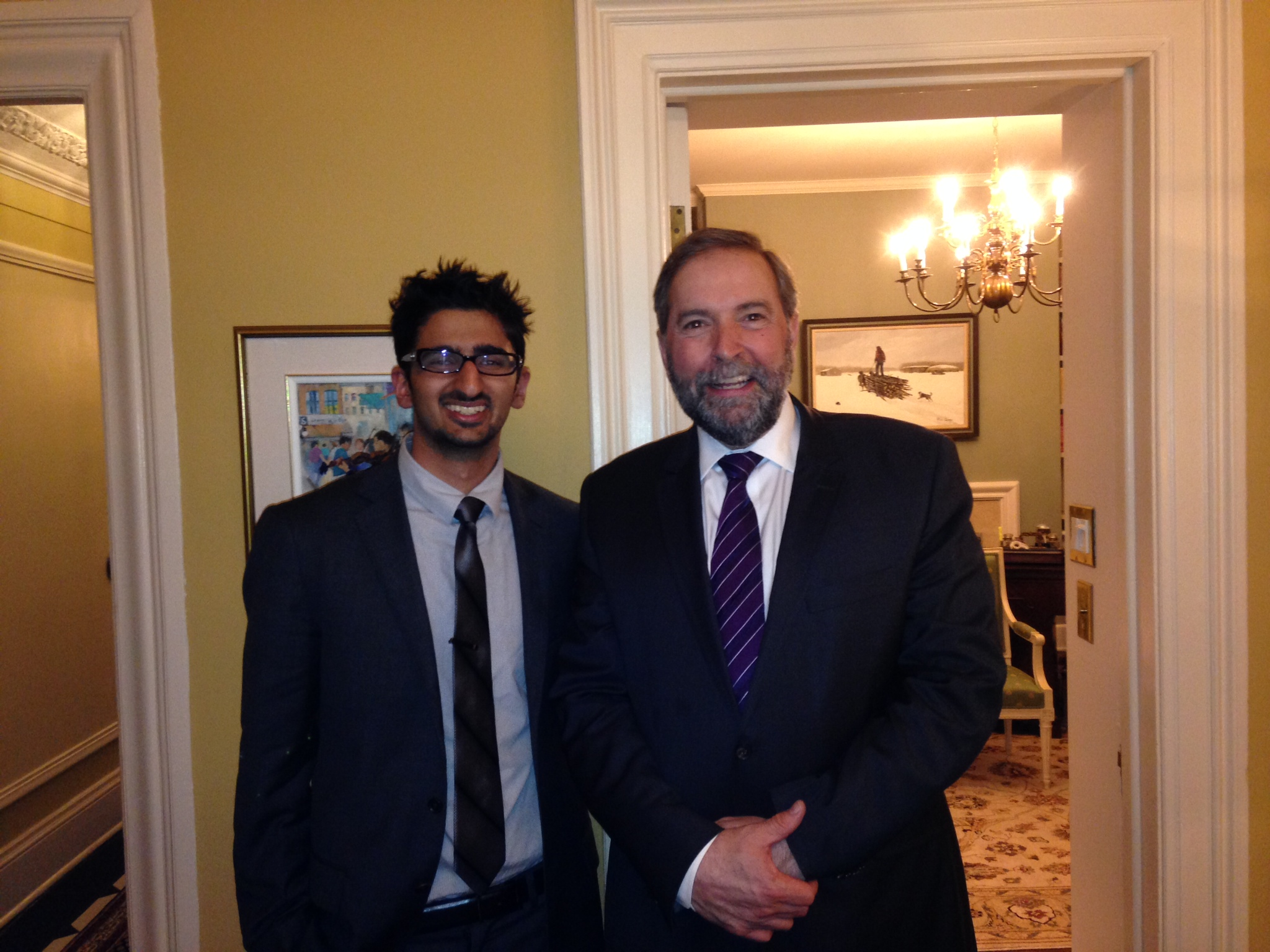 POST student Vik Saggu with the Leader of the Official Opposition, Tom Mulcair.