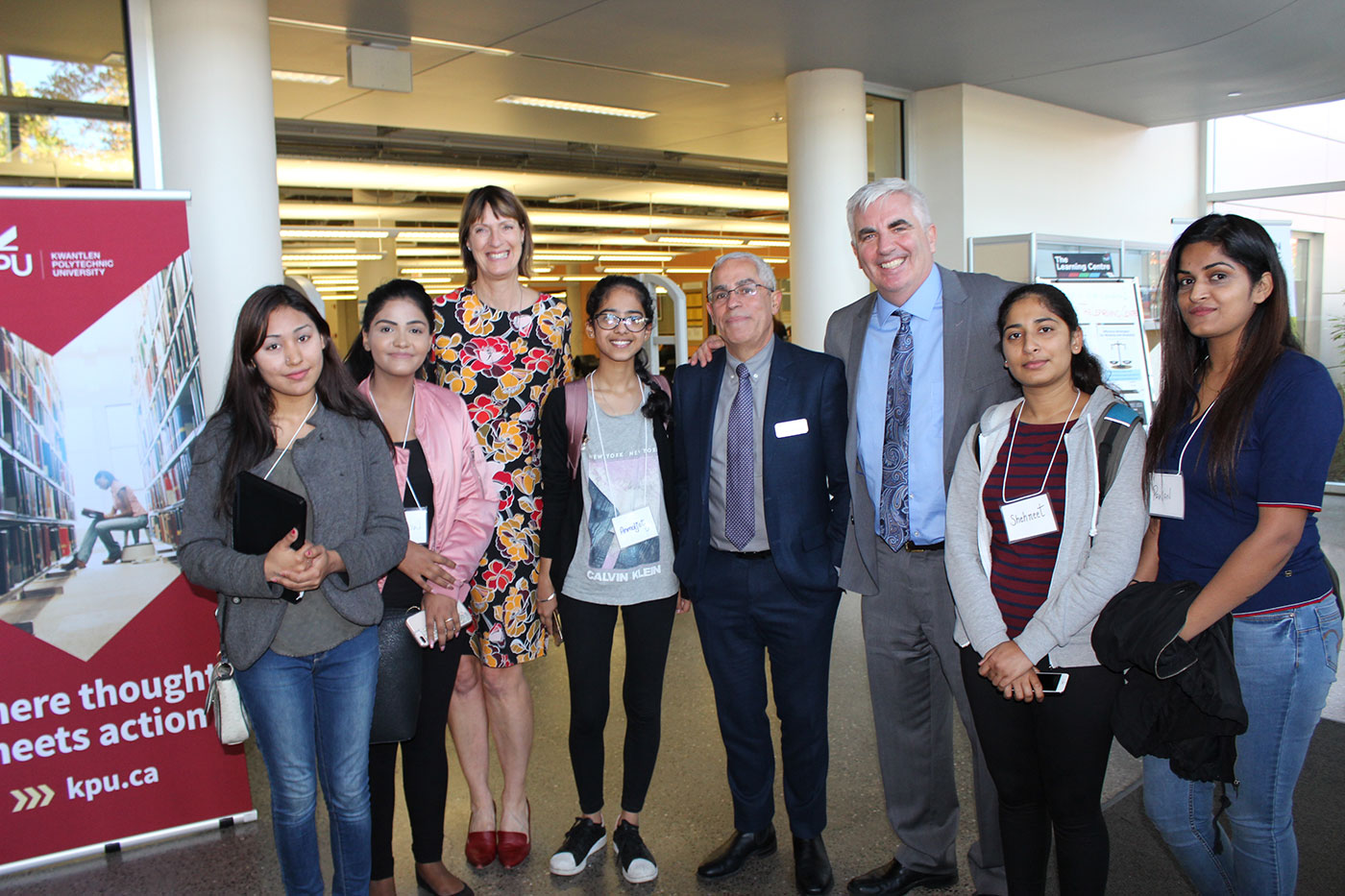 Students in POST 2900 celebrate the launch of the Surrey CityLab initiative with the Dean of Arts and the Provost