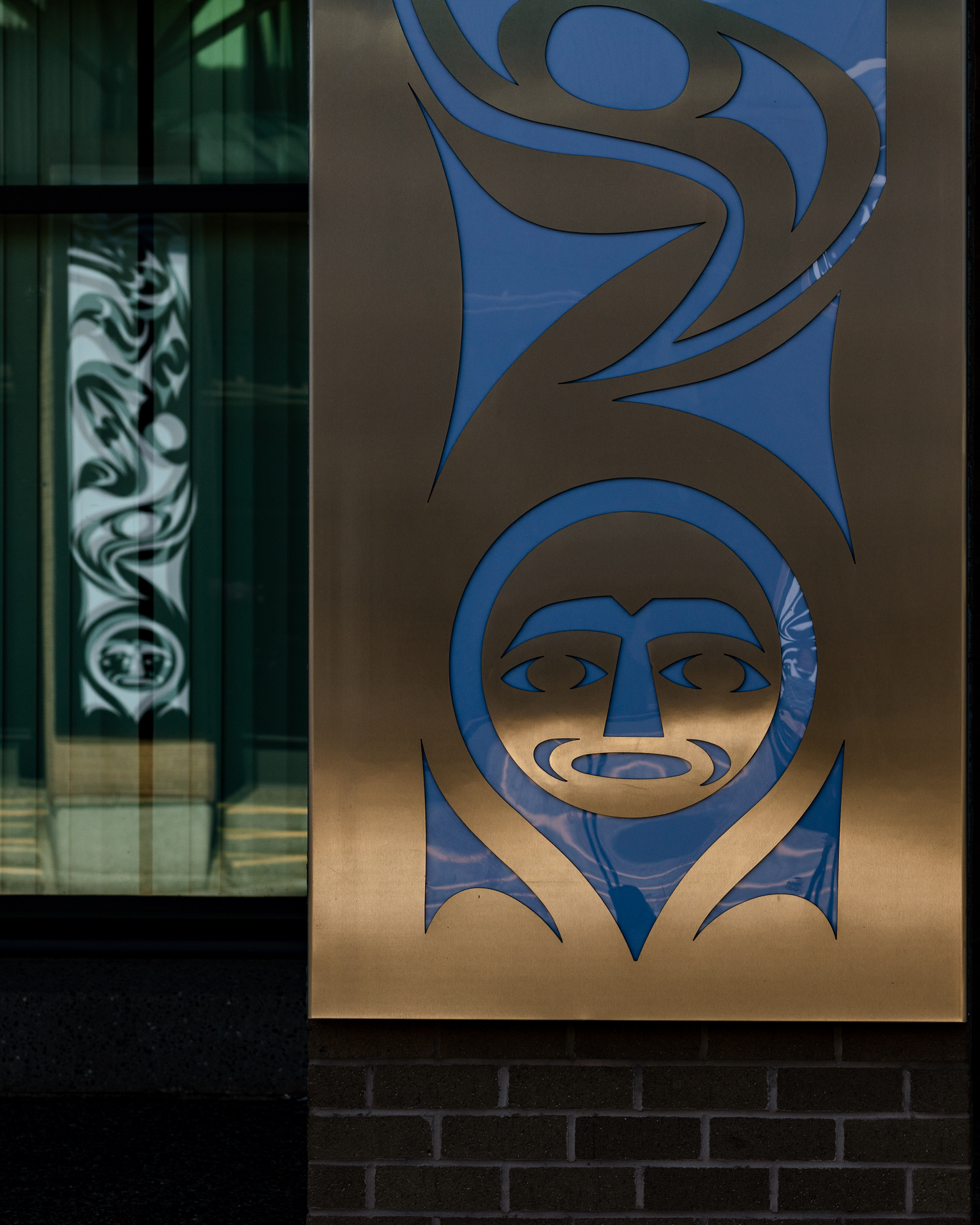 Kwantlen First Nation artist Brandon Gabriel creates art for Kwantlen Polytechnic University Langley Campus.