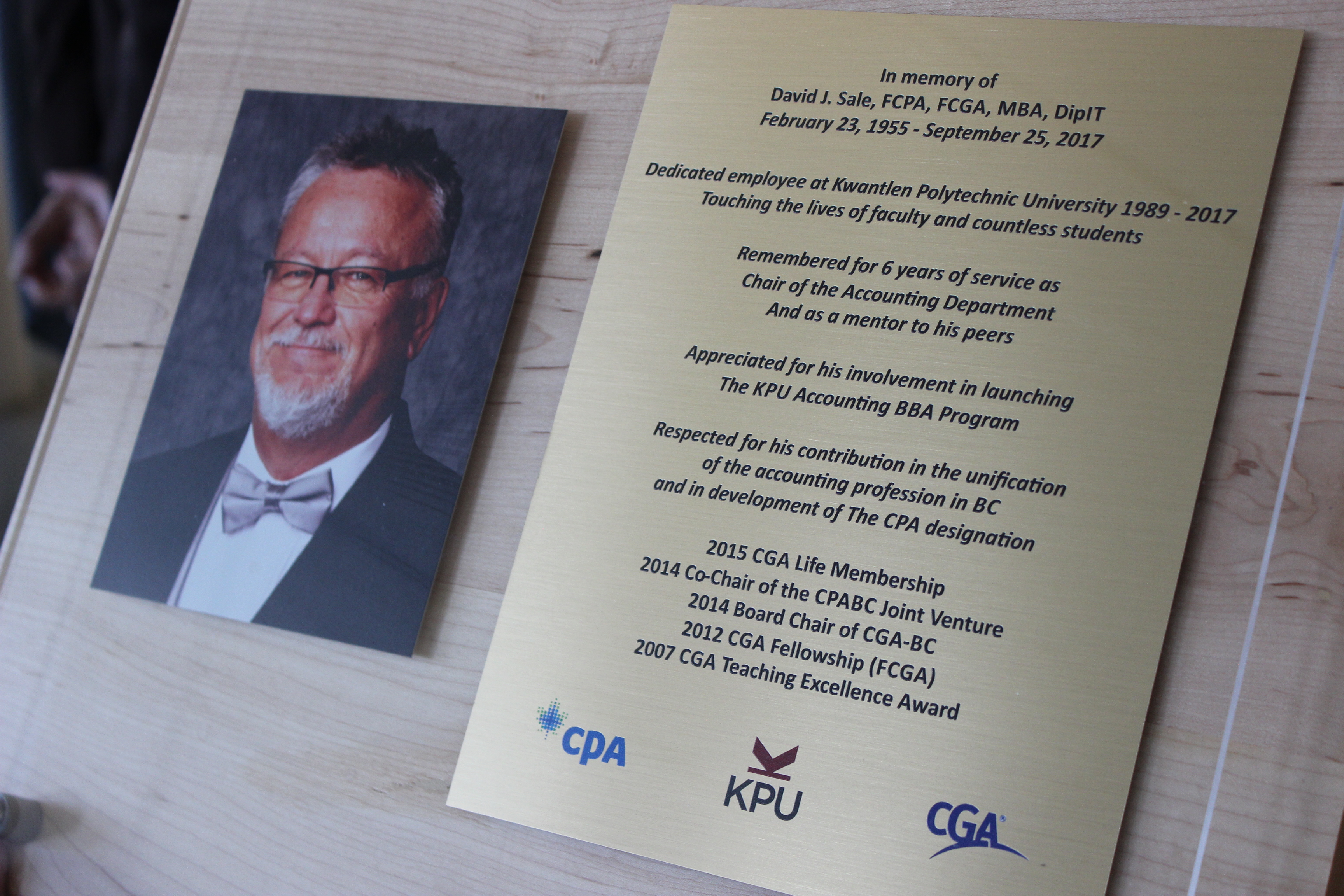 Plaque of David Sale, KPU accounting instructor