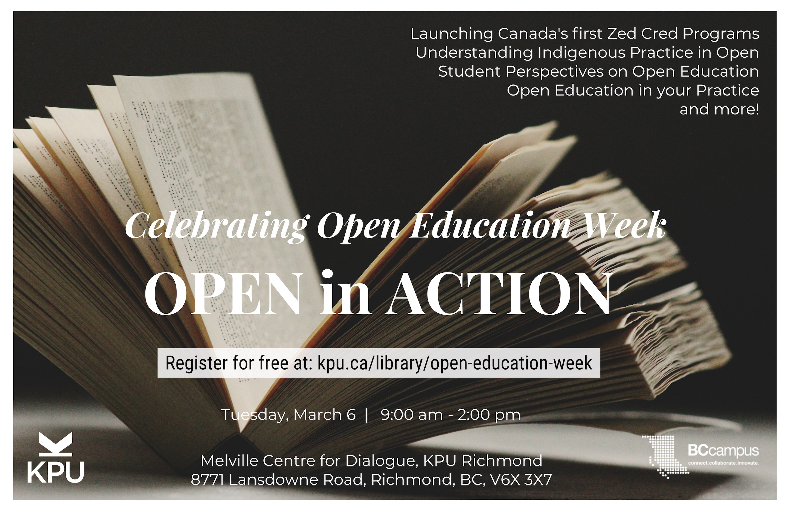 Announcement of the Open in Action event on March 6, 2018 at the KPU Richmond campus