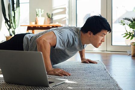 Workout doing push ups