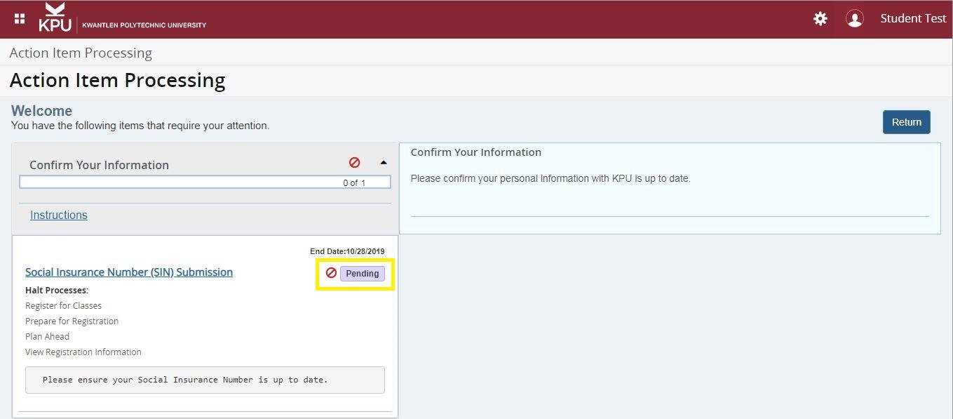 Screenshot of pending actions