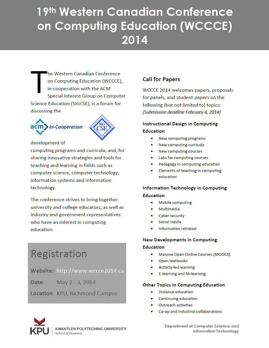 WCCCE 2014 Call For Papers