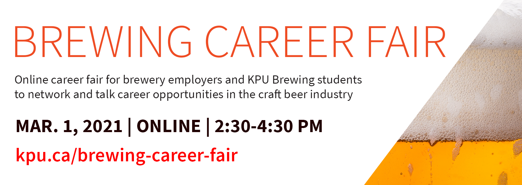 KPU Brewing Career Fair, online career fair, brewing, beer industry, brewer, head brewer, assistant brewer, brewing jobs, brewery jobs