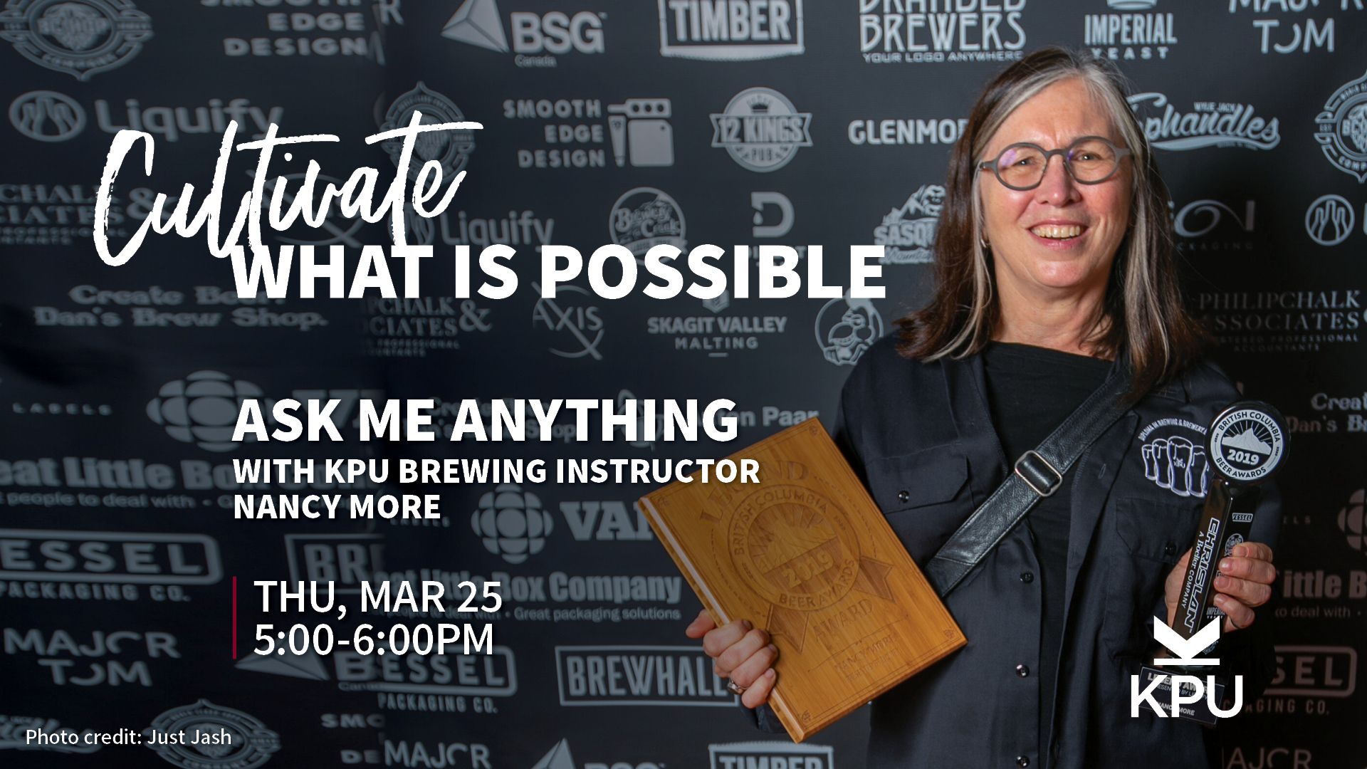 KPU Brewing, Ask Me Anything, info session, information session, Kwantlen Polytechnic University, KPU, Nancy More, brewing school, craft beer, brewmaster, Pink Boots Canada