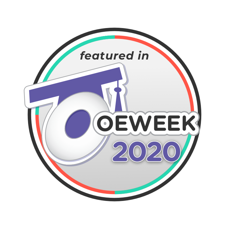 "An icon that includes the text ""featured in Open Education Week 2020"""