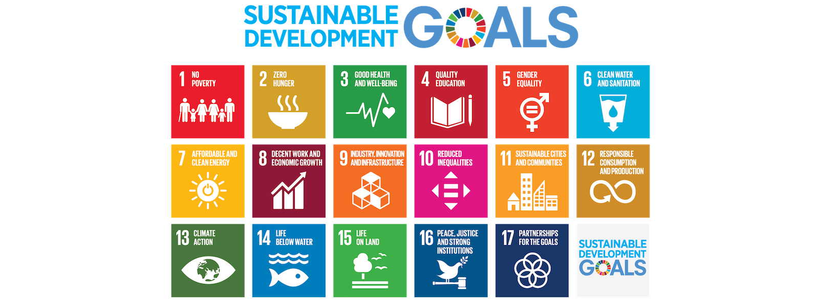 Icons of the 17 sustainable development goals of the United Nations