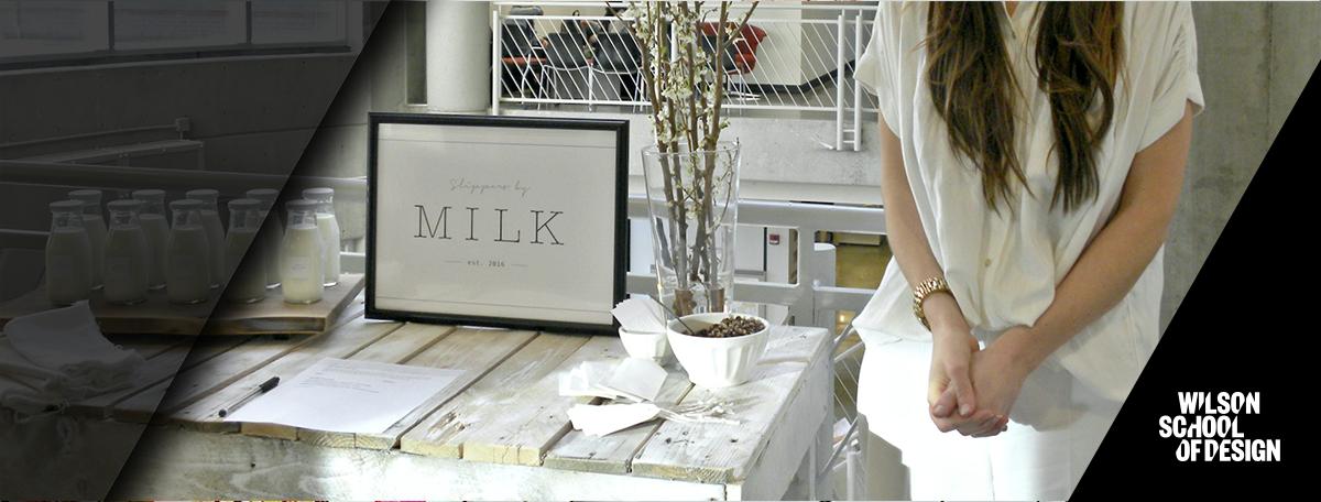 Fashion marketing project on display.