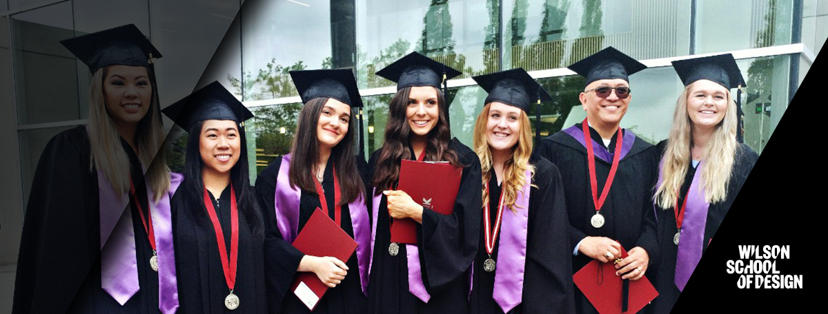 Fashion marketing stand together at their graduation.