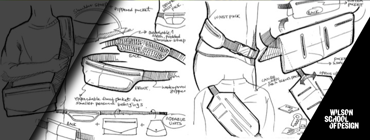 Sketches of technical apparel.