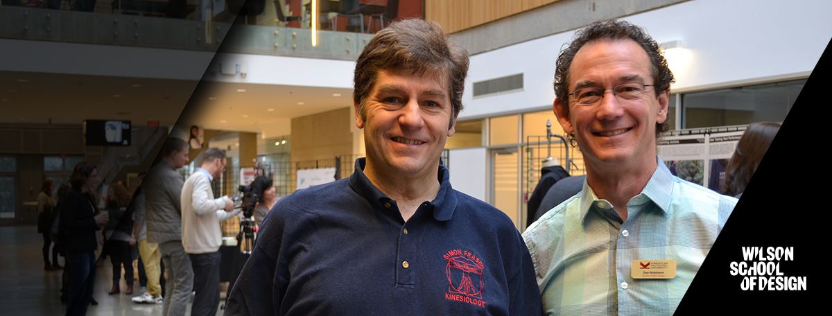 Two of the technical apparel design faculty smiling together.