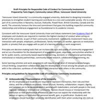 Draft Principles for Vancouver Island University