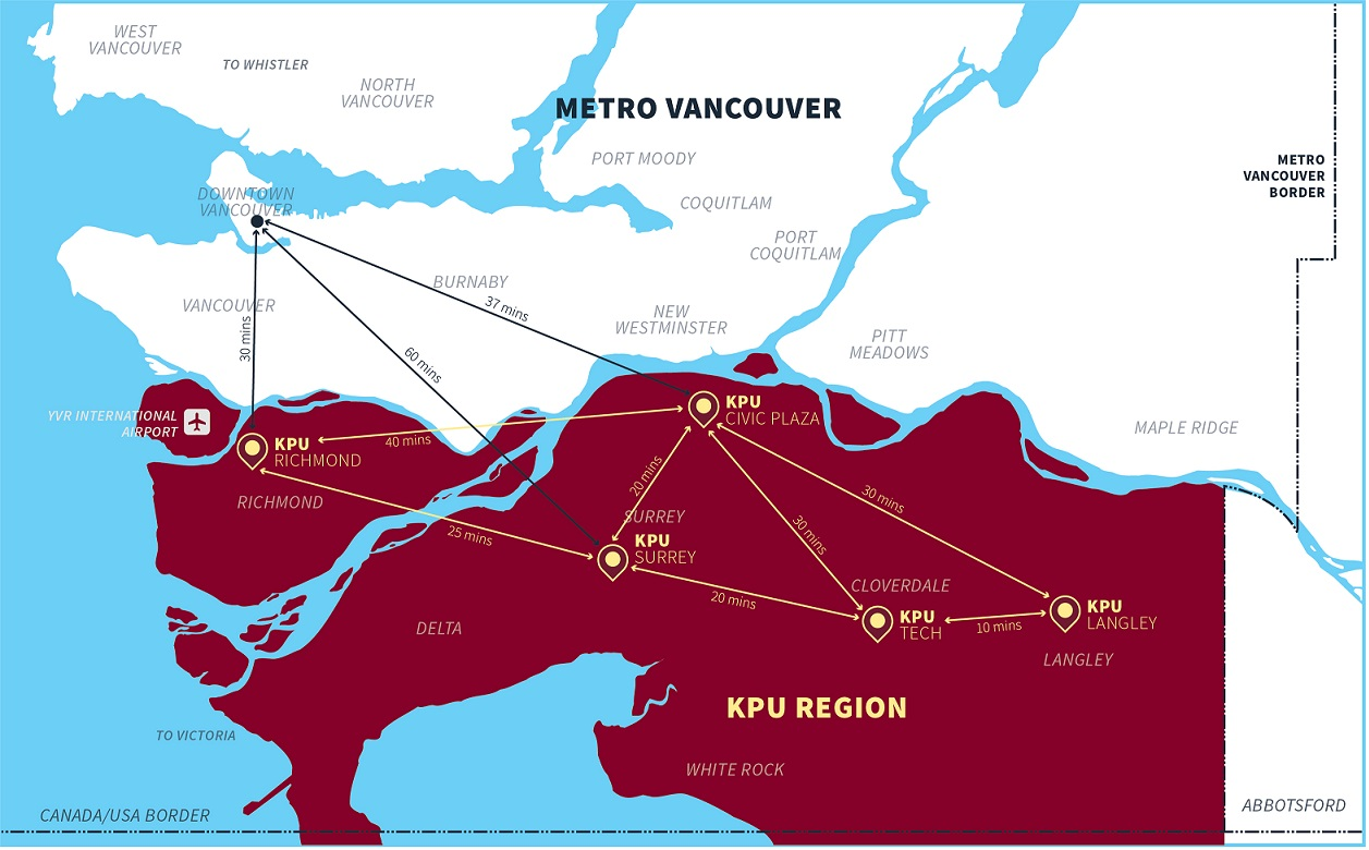 KPU campuses map