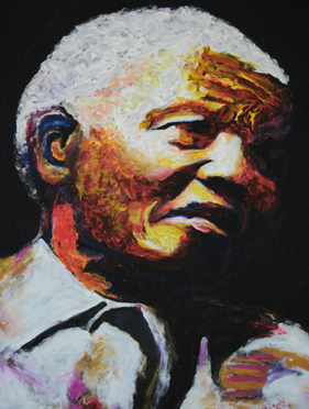 Nelson Mandela painting by Masore Lule, Cape Town, 2009