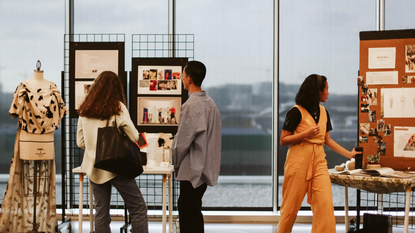 People view fashion displays