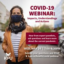 For members of the public who have questions about COVID-19, the vaccine, travel and more, a new online webinar, supported by Kwantlen Polytechnic University's Facutly of Health, may provide some answers.