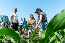 Lana Popham, Minister of Agriculture, visits the site of KPU's new research farm in Richmond