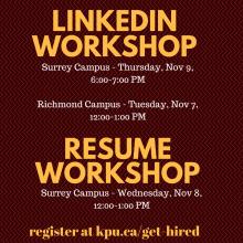 LinkedIn, workshop, resume, career services